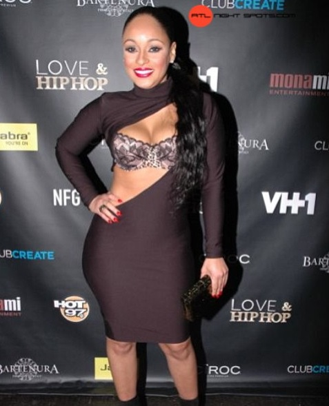 Tahiry wearing the Fabric Twinz Stacey Slash dress to the Love & Hip Hop party!