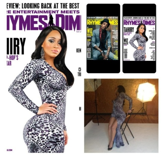 Love & Hip Hop Beauty Tahiry's Double Cover w/ Wiz Khalifah in the Dec. Issue of Rhymes & Dymes wearing F2 printed floor length dress